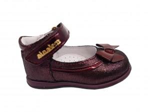 Pantofi fete bordeaux din piele naturală întoarsă