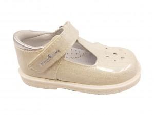Pantofi fete albi glitter din piele naturală