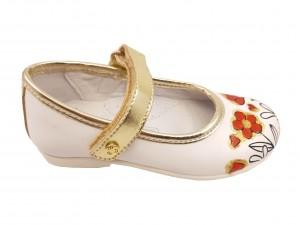Pantofi fete albi din piele naturală cu flori pictate