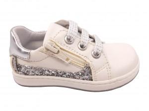 Pantofi fete albi cu șiret, din piele naturală