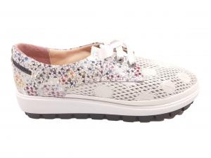 Pantofi sport damă alb sidefat din piele naturală