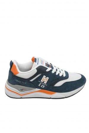 Pantofi sport bărbați Zip, alb cu bleumarin oceanic