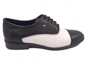 Pantofi eleganți negru cu alb din piele naturală