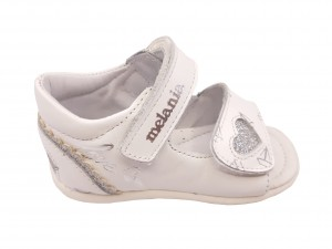 Sandale fete albe din piele naturală