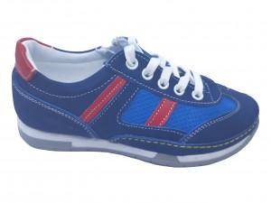 Pantofi sport băieți bleumarin din piele întoarsă
