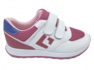 Pantofi sport fete alb cu roz din piele naturală