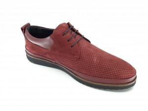 Pantofi casual bărbați piele întoarsă bordo