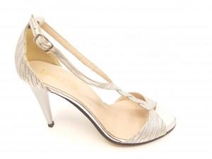 Sandale elegante argintii din piele naturală