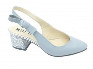 Pantofi damă decupați blue, toc evazat cu model argintiu