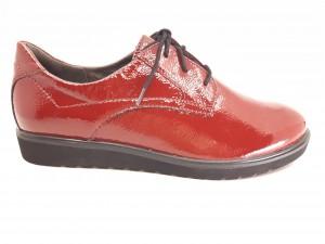 Pantofi damă casual din piele naturală lucioasă, culoare roșu cireșiu