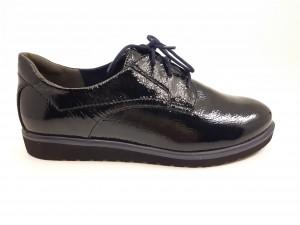 Pantofi damă casual din piele naturală lucioasă, culoare neagră