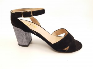 Sandale negre elegante din piele naturală întoarsă