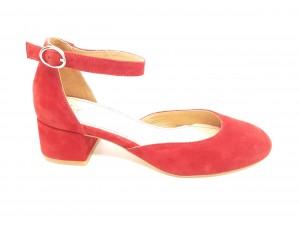 Pantofi damă decupați roșii din piele întoarsă