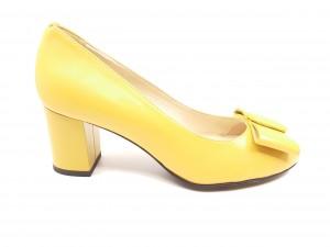Pantofi damă galbeni cu fundiță, din piele naturală