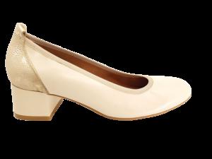 Pantofi damă bej cu auriu, din piele naturală