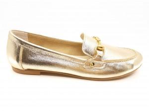 Mocasini damă aurii din piele naturală