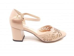 Pantofi damă decupați roz pal din piele naturală