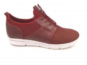 Pantofi sport bordo cu șiret, din piele întoarsă