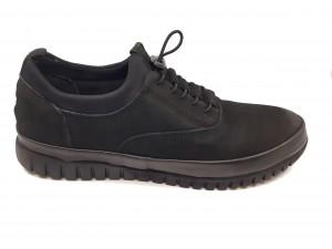 Pantofi casual negri din piele naturală întoarsă In Tempo