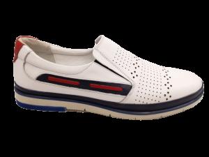Pantofi casual albi din piele naturală In Tempo
