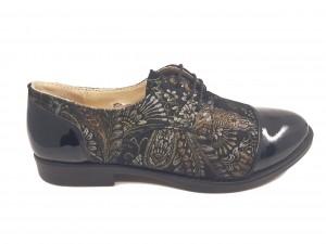 Pantofi damă casual negri din lac, cu model flori