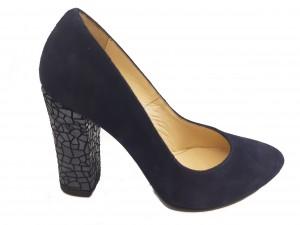 Pantofi eleganți bleumarin cu toc mozaic din piele întoarsă