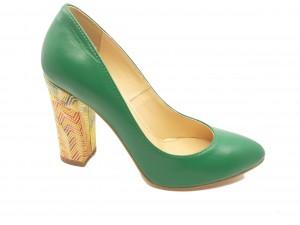 Pantofi damă verzi din piele naturală
