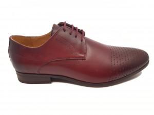 Pantofi eleganți vișinii din piele naturală