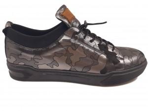 Pantofi sport negri cu argintiu bărbați din piele naturală