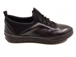 Pantofi sport negri pentru bărbați din piele naturală In Tempo
