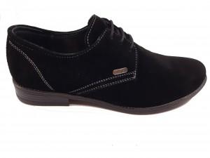 Pantofi eleganți negri pentru bărbați din piele naturală întoarsă