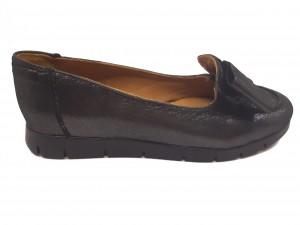 Pantofi Nadia, negru sidefat, cu fundiță, din piele naturală