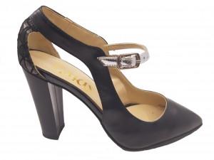 Pantofi damă eleganți negri cu baretă argintie