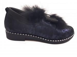 Pantofi damă casual negri cu sclipici bleumarin