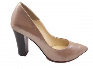 Pantofi eleganți grej sidefat din piele naturală