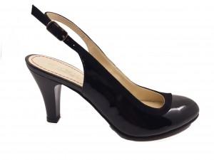 Pantofi decupați negri din piele naturală