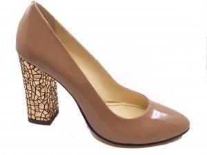 Pantofi eleganți din lac cu toc mozaic auriu