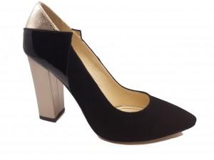 Pantofi eleganți negri cu toc auriu din piele întoarsă