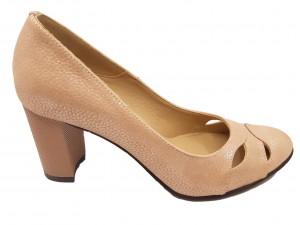 Pantofi damă office roz pudră din piele naturală