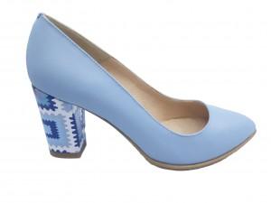 Pantofi damă office albastru azuriu din piele naturală