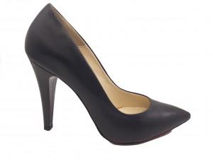 Pantofi stiletto negri din piele naturală