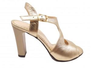 Sandale damă aurii din piele naturală