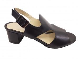 Sandale damă casual negre din piele naturală