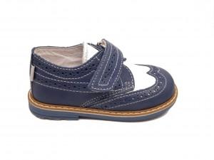 Pantofi băieți bleu-alb din piele naturală