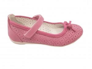 Balerini fete roz din piele naturală