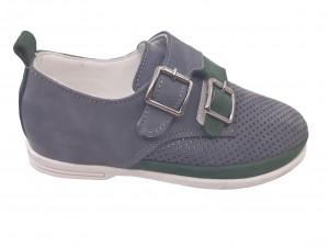 Pantofi băieți peforați gri din piele întoarsă