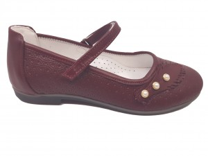 Pantofi fete bordo din piele naturală