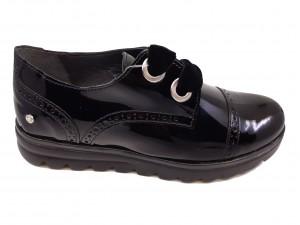 Pantofi damă Oxford negri din lac