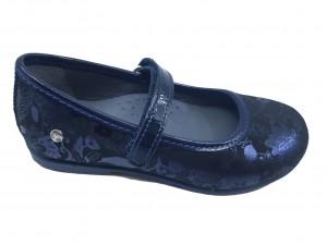 Pantofi fete bleumarin cu imprimeu flori din piele întoarsă