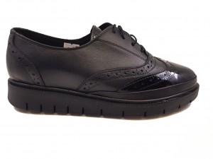 Pantofi damă Oxford negri din piele naturală